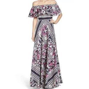 ELIZA J Chiffon Print Off Shoulder Maxi Dress